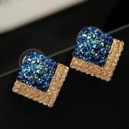 OL diamant Coquille Carré/ Triangle Boucles d'oreilles