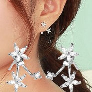 Cute Silver Flower Rhinestone Earrings Studs
