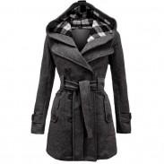 Fashion Lattice Fleece Check Hoodie Double Women Breast Coat Jacket Winter Coat