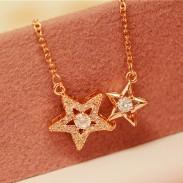Collier romantique avec pendentif diamant double clavicule