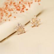 Flocon de cristal Aiguille d'Argent élégant Bling Boucles d'oreilles