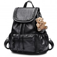 Loisirs Weave Noir PU Sac à dos ours Poupée Voyage Collège Sac à dos