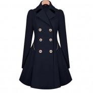 Manteau en laine à double boutonnage pour femme