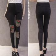 Skinny neuvième jean legging maigre déchirée de mode rose maille noire déchirée femmes