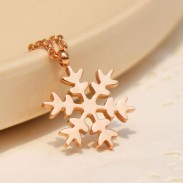 Mode Neige En forme de Se leva Or Collier
