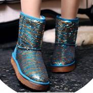 Bottes de neige d'hiver en cuir New Sequin / coton Chaussures