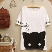Collège Loisirs Kitten les rayures à manches courtes en vrac T-shirt
