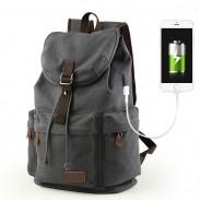 Sac à dos à rabat en toile avec interface USB Sac à dos de grande capacité avec cordon de serrage