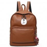 Mignonne Filles PU ours impression cadeau ours tête rabat petit sac à bandoulière grand animal école sac à dos
