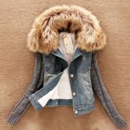 Removable Fur Collar Cotton Thick Slim Denim Jacket