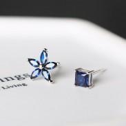 Carré asymétrique en forme de coeur pour femme en argent 925 avec petites fleurs Zircon Allergy Silver