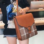 Angleterre rétro style PU grille carrée multi-fonction sac à bandoulière sac à dos