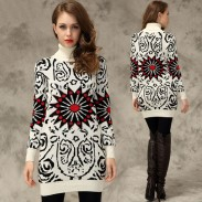 Slim Graffiti Sunflower Print Long Sweater