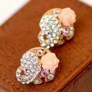 Mignon Dessin animé l'éléphant Cristal Boucles d'oreilles diamant
