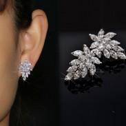 Noble Winky cristal Feuilles 925 Hypoallergénique Boucles d'oreilles