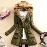 Manteau long d'hiver en coton à capuche en laine