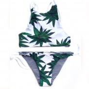 Sexy Green Bikini Maple Leaf  Swimsuit Double-Cross Straps Swimwear Bathingsuit