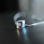 Transparent Balle Cube Trèfle Dérouler étoile Collier Argent Brève Cristal