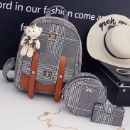Unique Lignes Lingge Double Bouton Sac Cadeau Sac à bandoulière School Lady Sac à dos