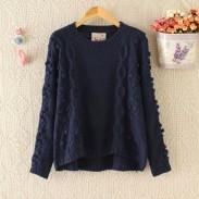 College Pullover Hand Made Ball Irregular Cut Sweater