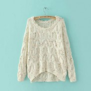 New Fresh Irregular Round Neck Color Point Loose Sweater