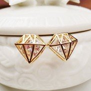 Bijoux creux géométrique diamant incrusté Zircon Dame Des boucles d'oreilles
