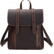 Rétro simple en cuir épais de style britannique à double boucle fait main grand sac à dos d'école