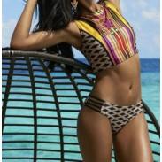 Vest style split swimsuit Rope Plaid Stripes Geometric Print Bikini