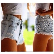 Summer Sexy Ripped High Waist Denim Shorts Jeans  Plus Size Hot Rivet Wonmen Shorts
