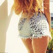 Summer Sexy Women High Waist Ripped Hole Rivet Wash Denim Jeans Shorts Pants