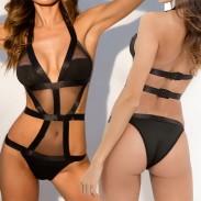 Sexy voir à travers maille noir creux femmes lingerie