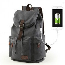 Flap Travel Canvas Backpack With USB Interface Drawstring Large Capacity Camping Rucksack