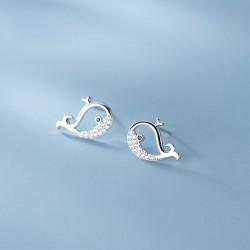 Belles petites baleines en diamant creux boucles d'oreilles clous d'oreilles poissons animaux boucles d'oreilles en argent