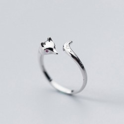 Lovely Fox Tail Pattern Carving Silver Open Ring Animal Jewelry Rings