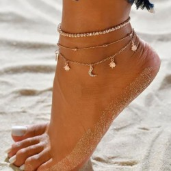 Bracelet de cheville pour femme Retro Summer Multi-couche perlé