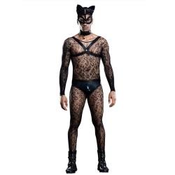 Sexy Homme chat Costume Bodystocking Clubwear Cosplay Lingerie Harnais Culotte Ras Du Cou Masque Queue 6 pièces de lingerie