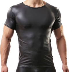 Sexy Men Black Wet Look Short Sleeve Tight T-Shirt Clubwear Lingerie PVC Leather Muscle Tank Tops