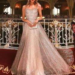 Sexy Flash Sleeveless Suspender Long Dress Sequin Prom Dress