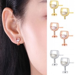 Lovely Red Wine Glass Cup Crystal Alloy Shaped Earrings Studs