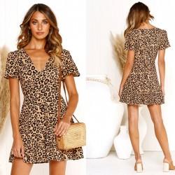 Robe à volants pour femmes à manches courtes à imprimé léopard et à col en V