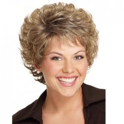 Mode Perruques de cheveux pour femmes matures avec frange diagonale courte brune