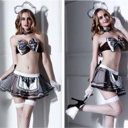 Sexy femme de chambre vêtements Cosplay femme de chambre uniforme tentation jupe courte classique arc dentelle filles Lingerie