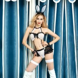 Sexy lapin Fille Cosplay La perspective Ensemble de soutien-gorge de lapin uniforme en dentelle chaude Bow Lingerie épicée
