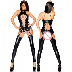 Collants réunis en cuir verni noir sexy avec bas de lingerie adolescente