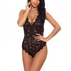Lingerie sexy en peluche noire pour les femmes Body en V profond Lingerie douce en dentelle florale d'une seule pièce