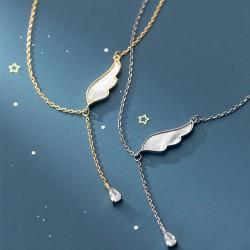 Collier pendentif pompon en plumes de cristal avec ailes simples mignonnes pour collier de bijoux en argent pour femmes