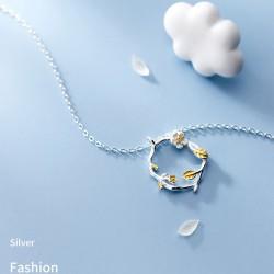 Unique fleur branche feuilles anneau pendentif fait main bijoux originaux collier en argent