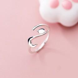 Mignon chaton fiançailles doigt bijoux cadeaux pour son animal bague en argent couché chat anneaux à bout ouvert
