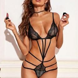 Sexy Noir Sous-vêtements en dentelle séduction groupés Lingerie pour femmes réunies