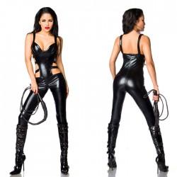 Sexy noir SM chaud abus sexuel en cuir verni bas reine collants body pour femmes Teddy une pièce Lingerie